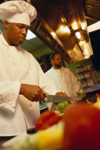 Chef Chopping Vegetables at Restaurant